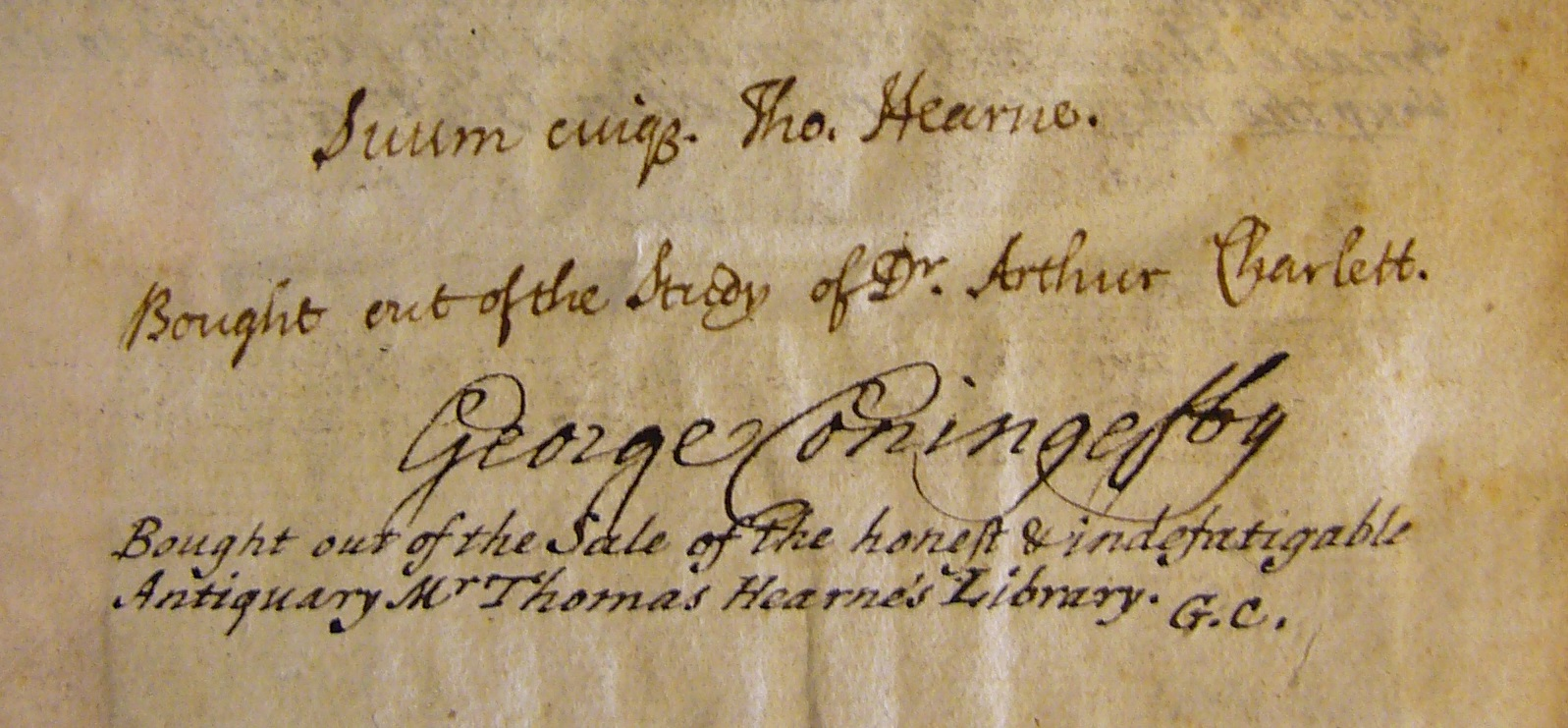 Thomas Hearne's ownership inscription in a book later acquired by Coningesby.