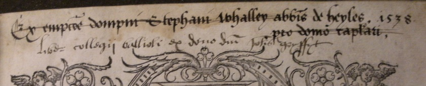 The abbot's ownership inscription replaced by Grisset's donation note