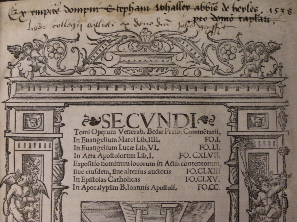 Detail from Balliol copy of title page of Bede's Latin Works ([Paris]: Josse Badius, 1521). Photo: Paris O'Donnell