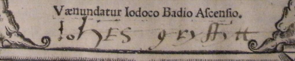 John Grissett's ownership inscription