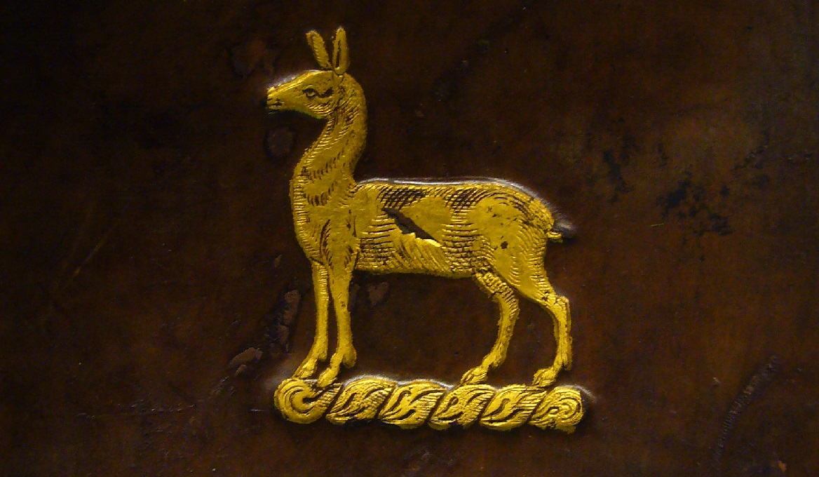Gold-tooled armorial hind on cover of Balliol Library copy of Scripta Anglicana by Martin Bucer (Photo: Paris O'Donnell)