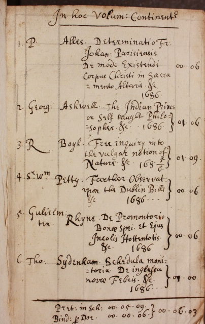 Contents list for an item bound by Doe (Balliol College Library shelfmark 910 e 4) (Photograph by Lucy Kelsall)