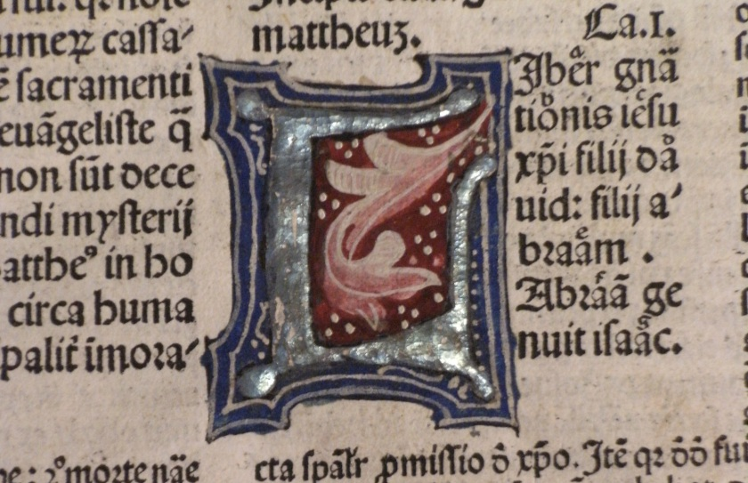 Illuminated initial from fol.13 of vol. 4 of Biblia cum postillis Nicola de Lyra (Photo: Balliol College Library)