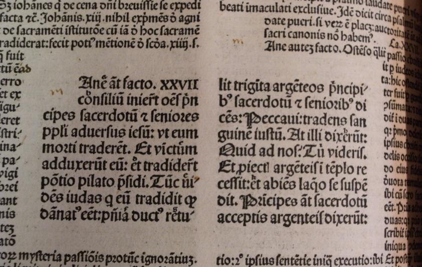 Space left for illuminated initials in fol 35 of vol 4 of of Biblia cum postillis Nicola de Lyra (Photo: Balliol College Library)