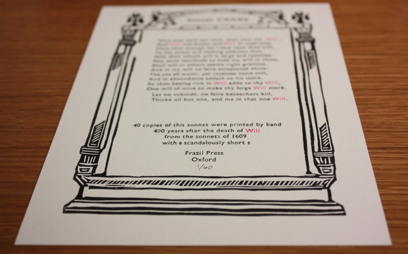 Sonnet 135, printed by Frazil Press (Photograph by Lucy Kelsall)