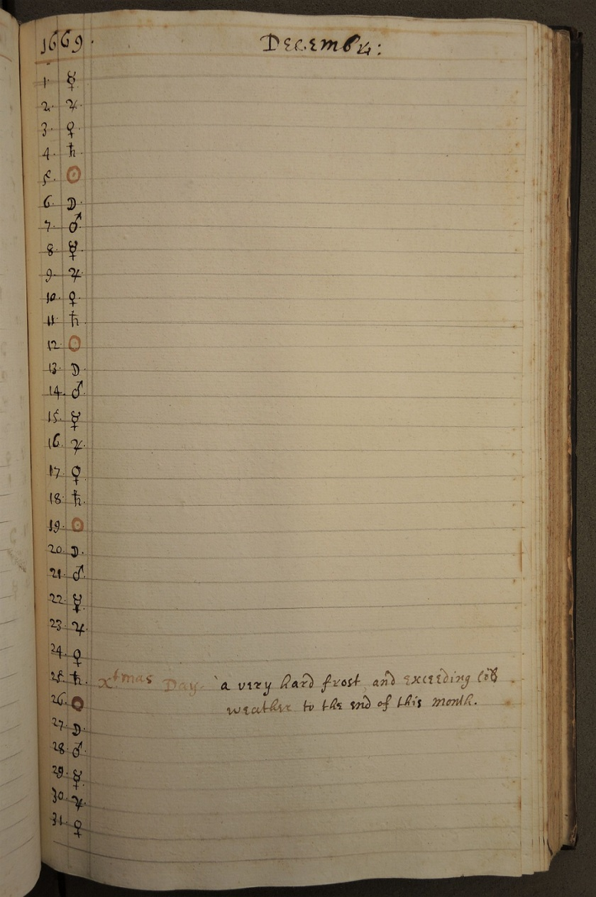 """Xtmas Day: a very hard frost and exceeding cold weather to the end of this month."" (Balliol College Archives shelfmark MS 355)"