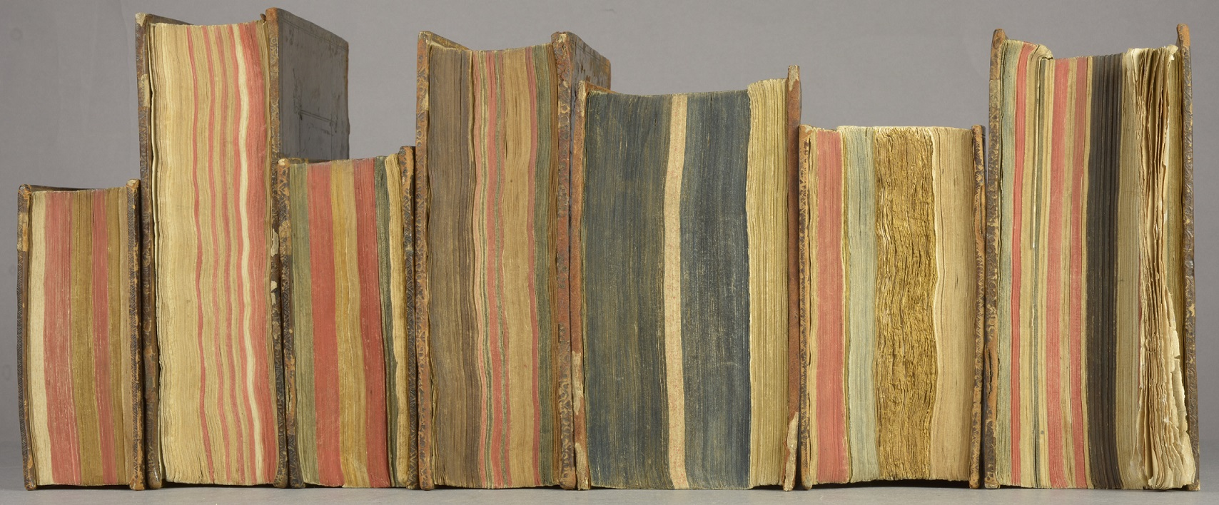 A selection of Crouch bindings displayed fore edge out, as they were probably intended to be (Photograph by Nikki Tomkins)