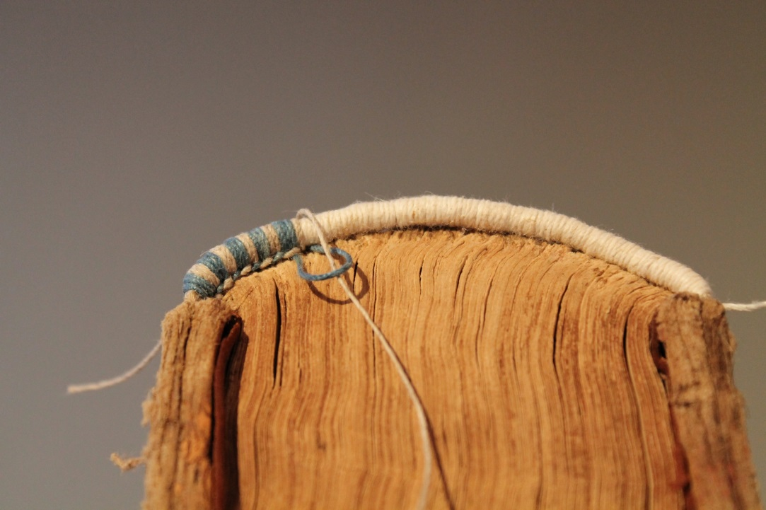Working the endbands: decorative secondary sewing