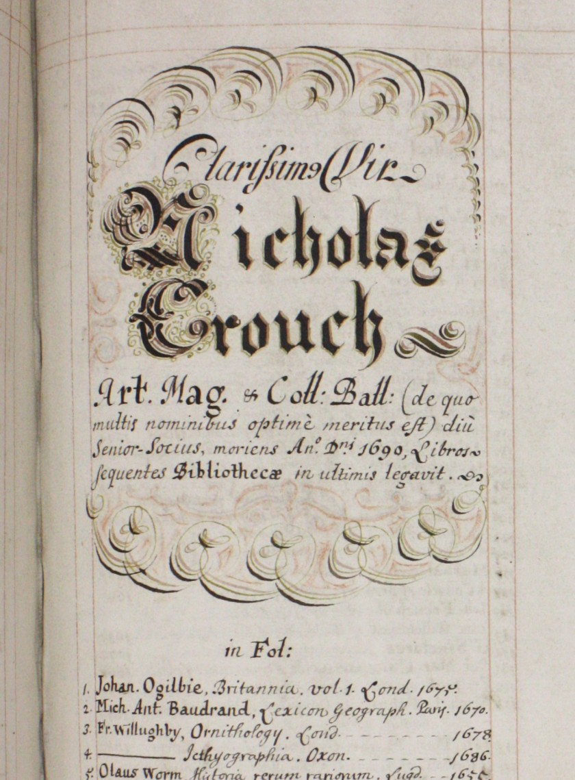 Crouch's name and bequest are recorded in elaborate calligraphy (Balliol College Library Benefactions Book, page 194)