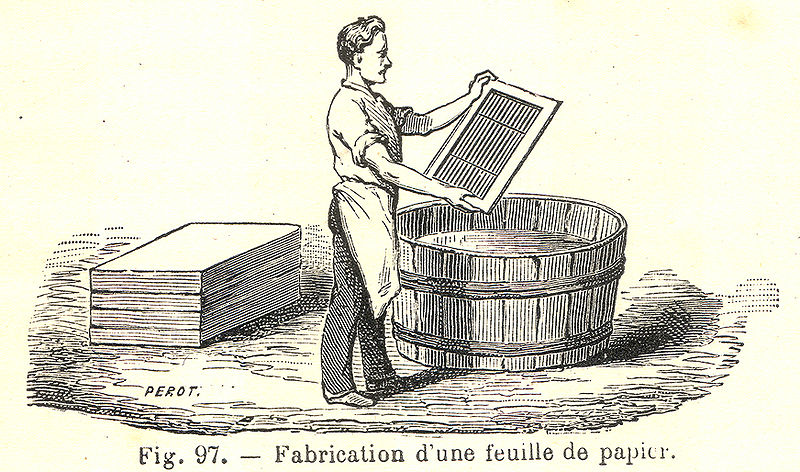 2. Paper made using a mould and deckle (image: Wikimedia commons)