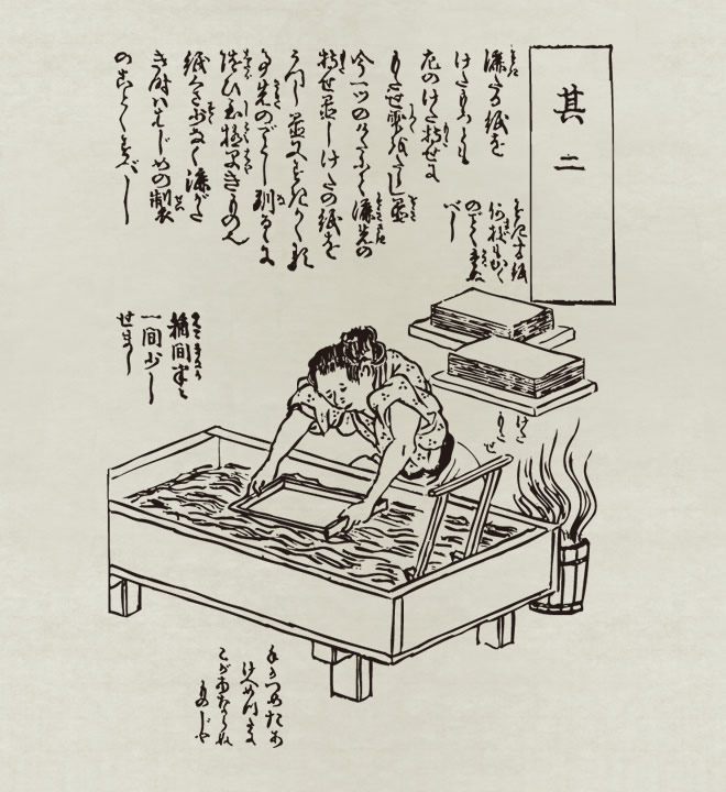 3. Traditional Japanese paper making (image: Wikimedia commons)