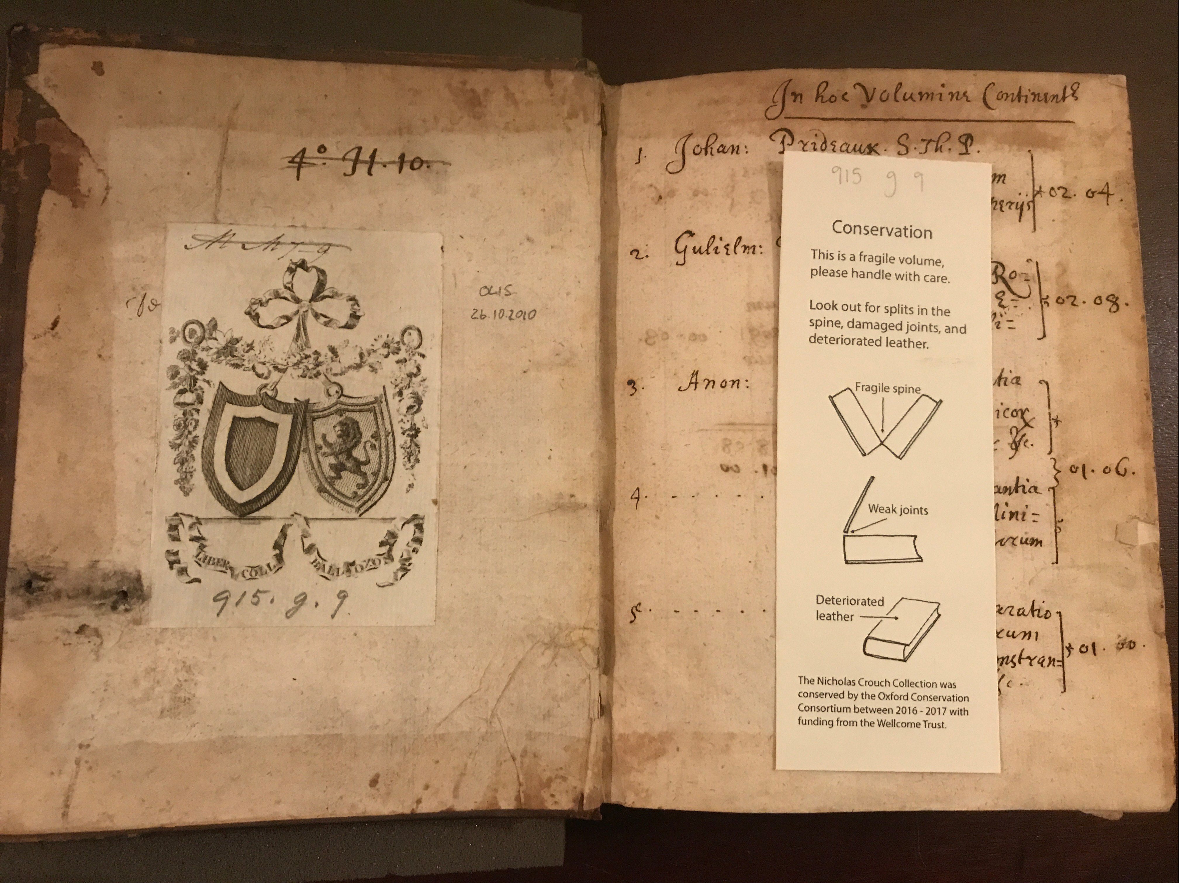One of Crouch's Sammelband (Balliol Shelf 915 g 9) with conservation slip