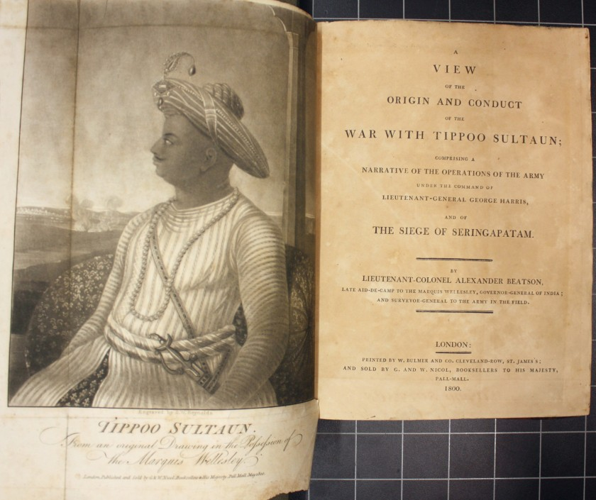 Title page and engraved portrait of Tipu Sultan