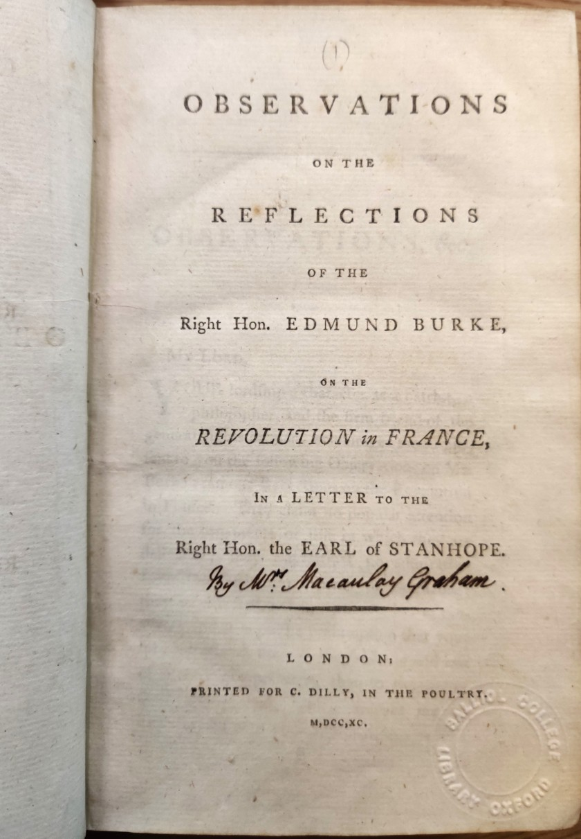 Title page of Observations on the Reflections of the Right Hon. Edmund Burke on the Revolution in France, London, 1790
