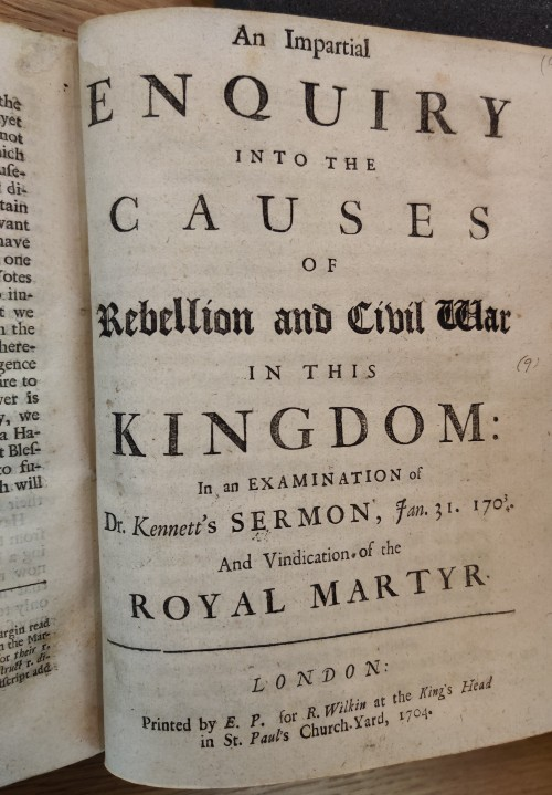 Title page for An Impartial Enquiry into the Causes of Rebellion and Civil War in the Kingdom, London, 1704