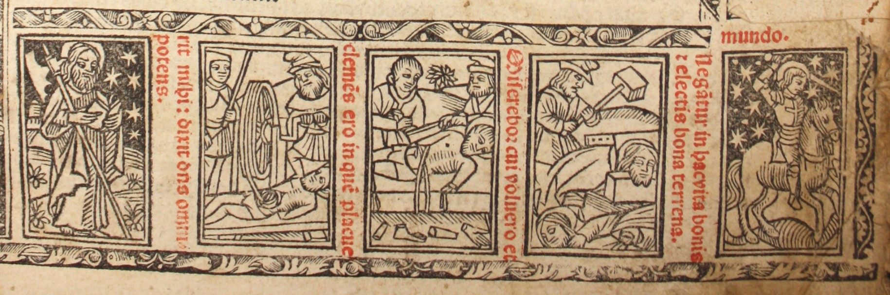 Detail from title page of Arch b 7 4 showing woodcut images of saints