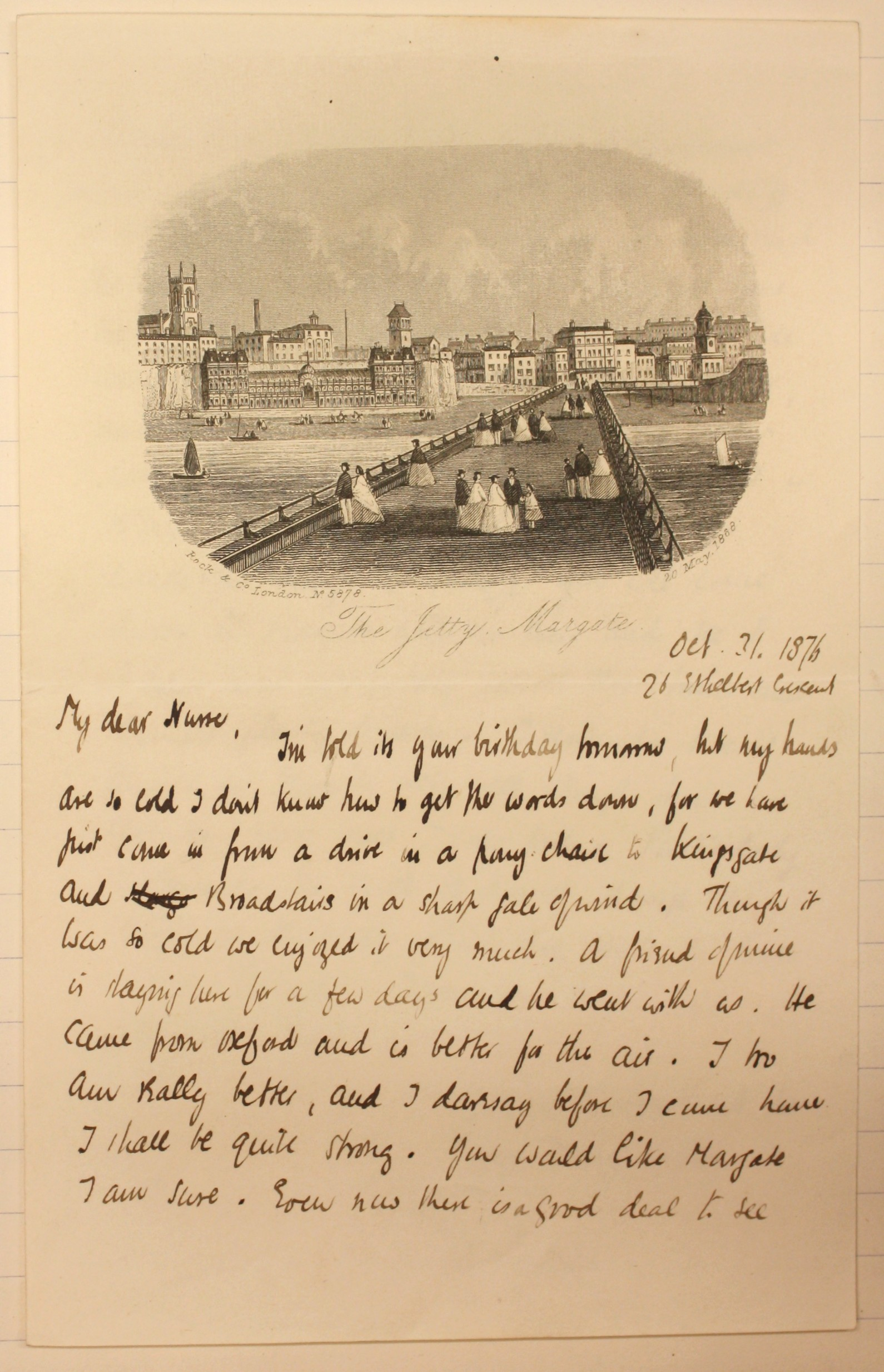 Letter from Arnold Toynbee to his nurse from Margate, 31 October 1876