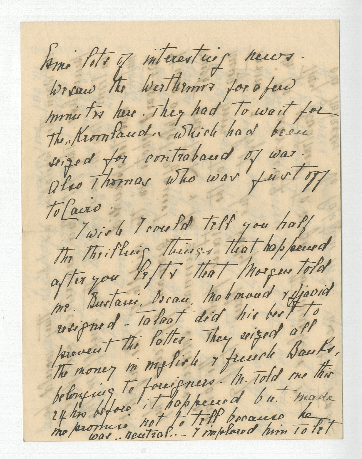 Page from a letter to Louis du Pan Mallet from Blanche Ovey, dated Athens, 19 November 1914.