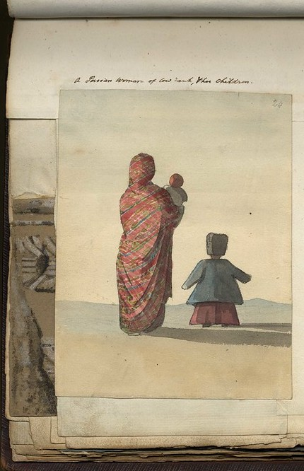 Sketch of 'A Persian woman of low rank & her children'
