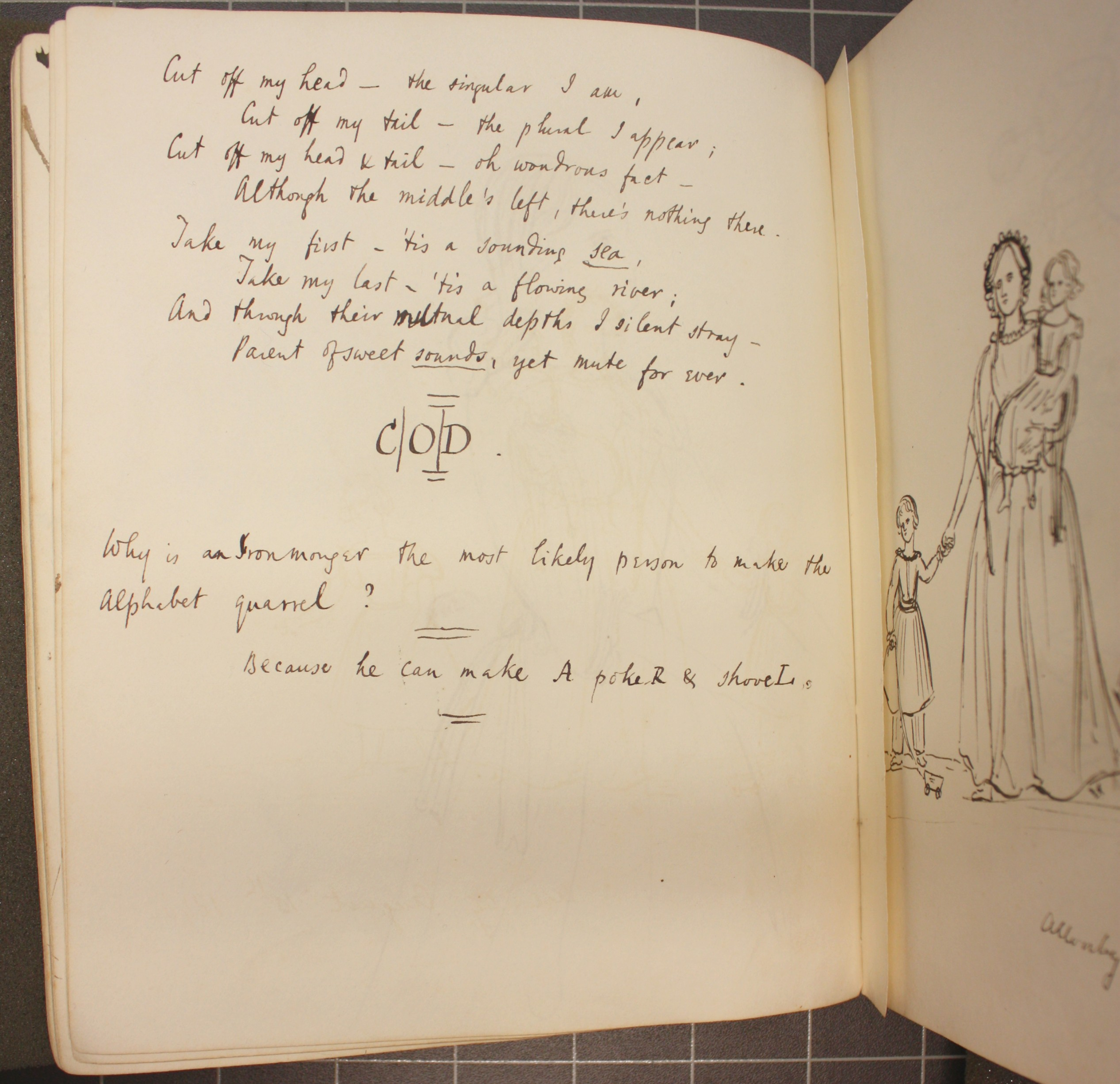 Page from an exercise book belonging to the Arnold family