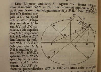 Cropped image of an elipsis surrounded by Latin text, from Newton's Principia Matematica