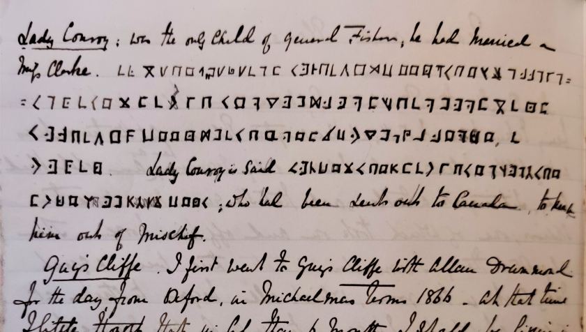detail of John Conroy's diary in ink showing cryptogram