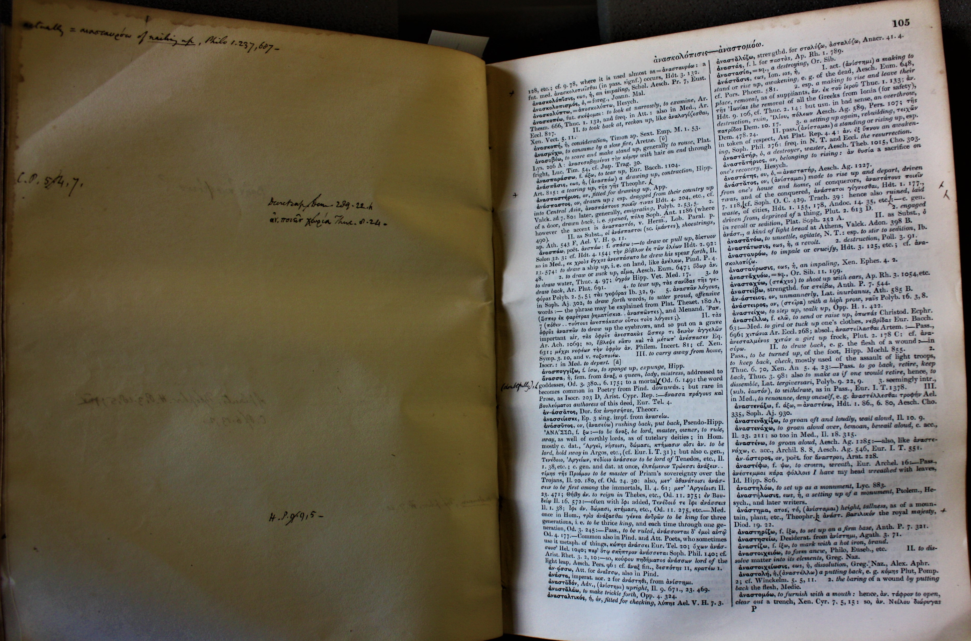 Cropped image of opening of Greek-English dictionary with printed text on the right and a blank page with some notes on the left