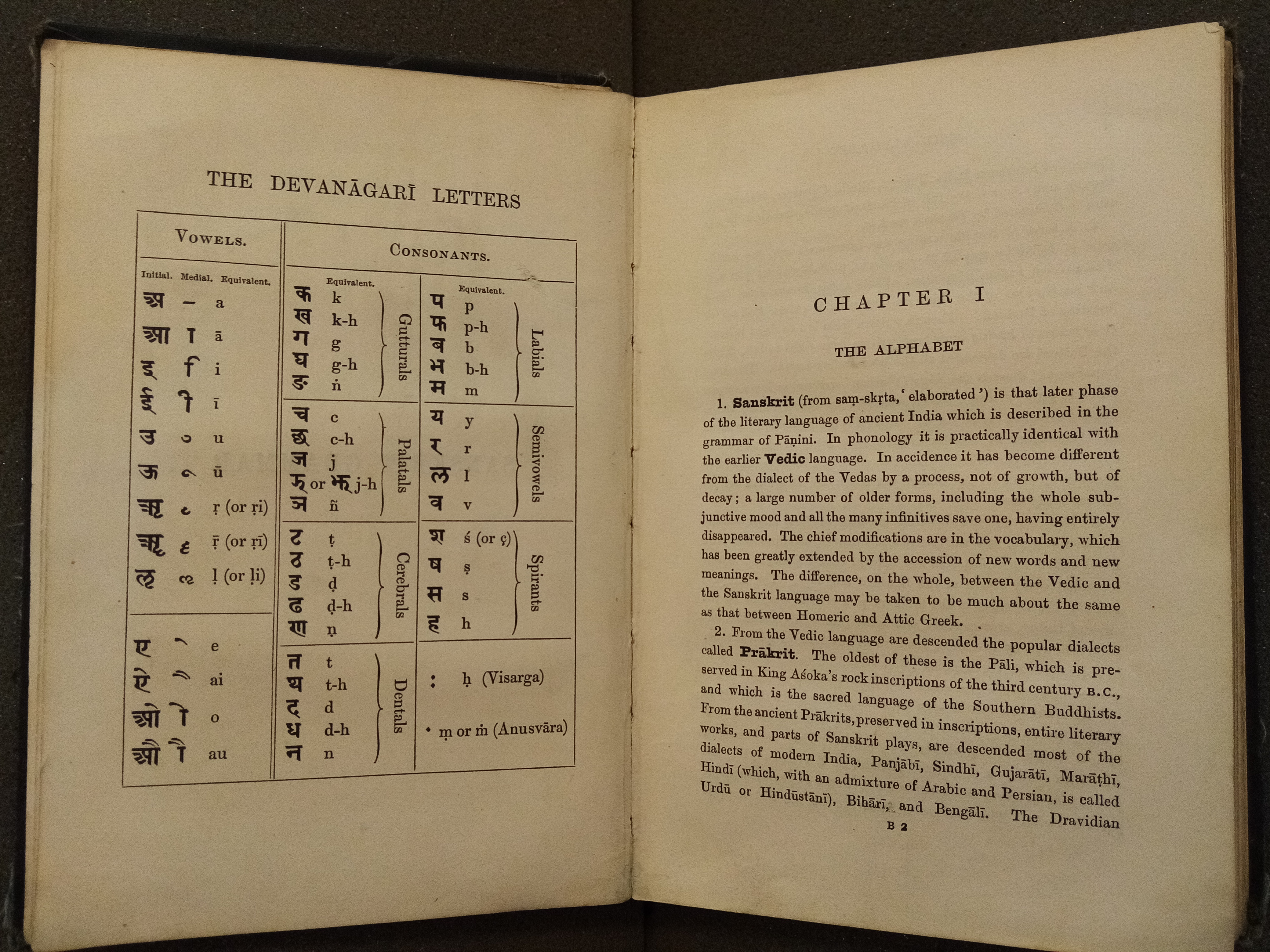 opening showing Sanskrit alphabet table on the left with an introduction to Sanskrit on the right