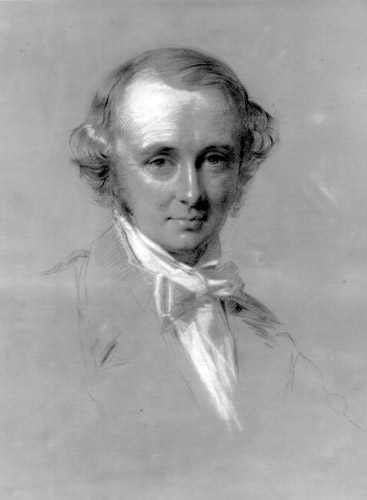 Pencil and chalk drawing of the head and shoulders of Benjamin Jowett