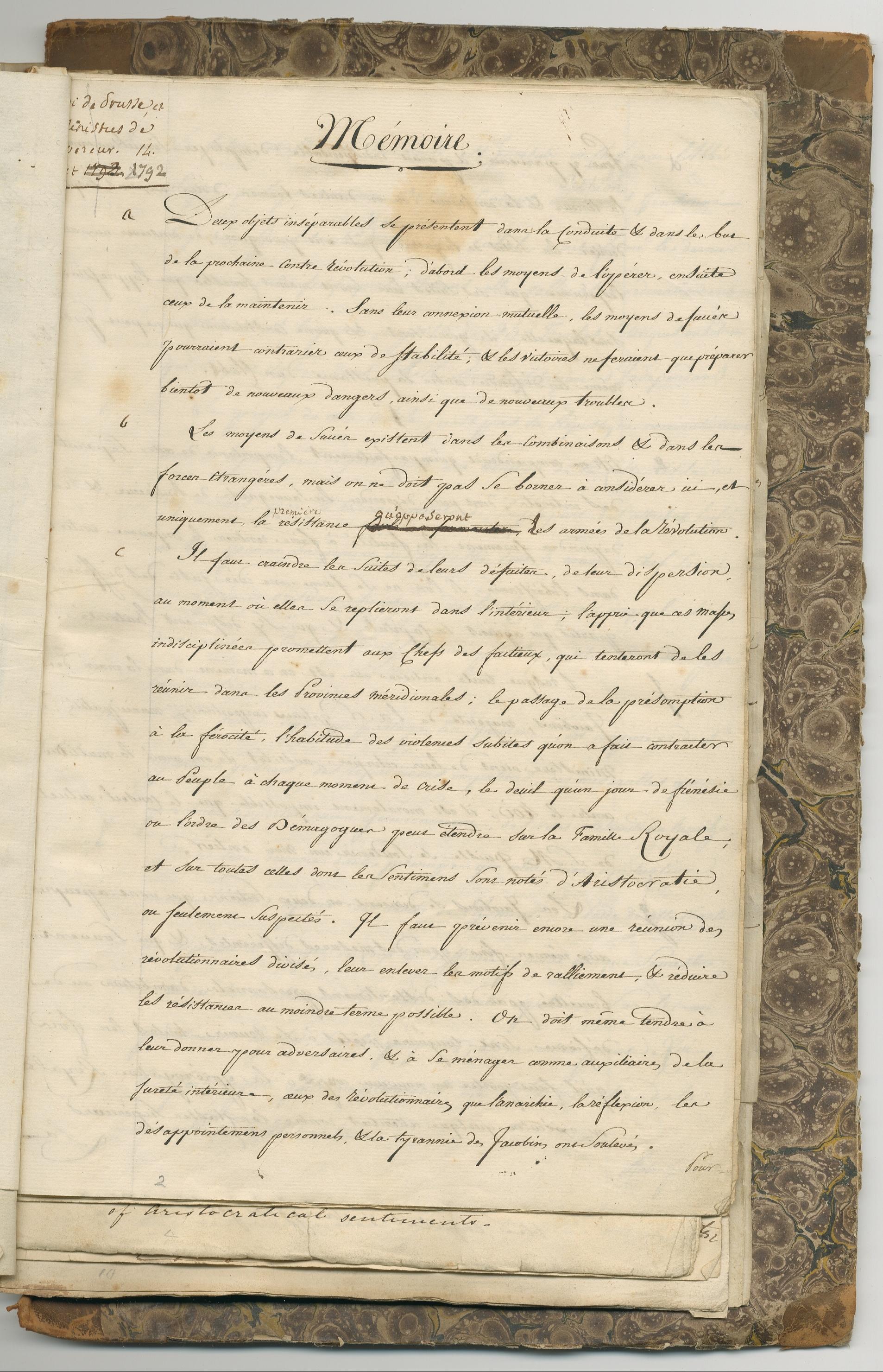Image of folio 1 of manuscript Memoire composed by Jacques Mallet du Pan