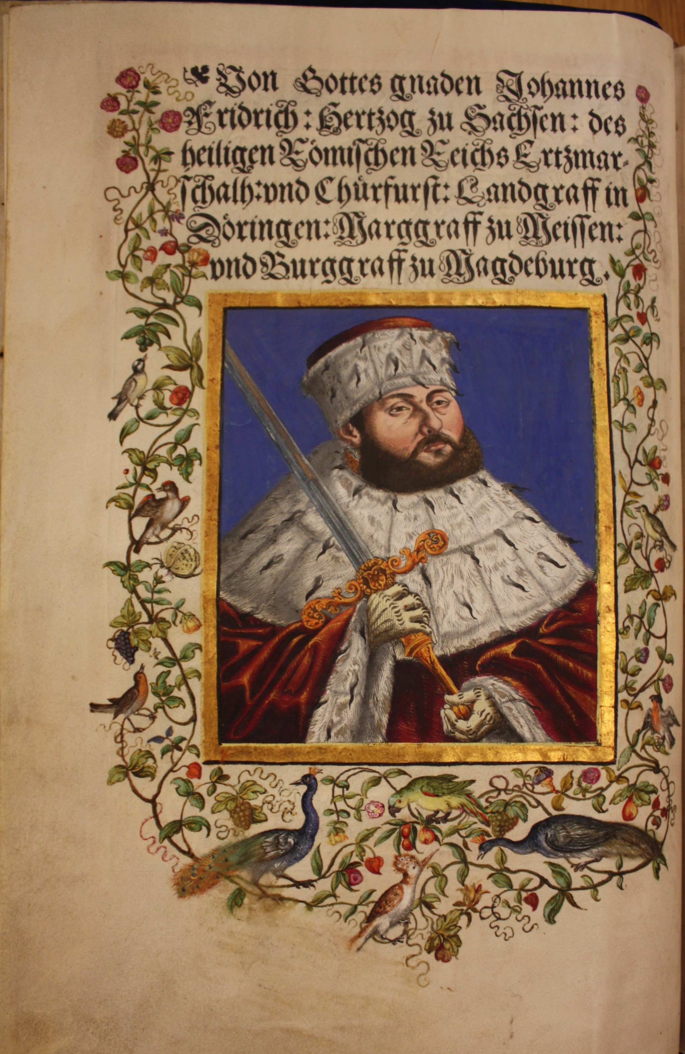 Hand coloured frontispiece from Luther Bible showing Elector Johann Frederick I