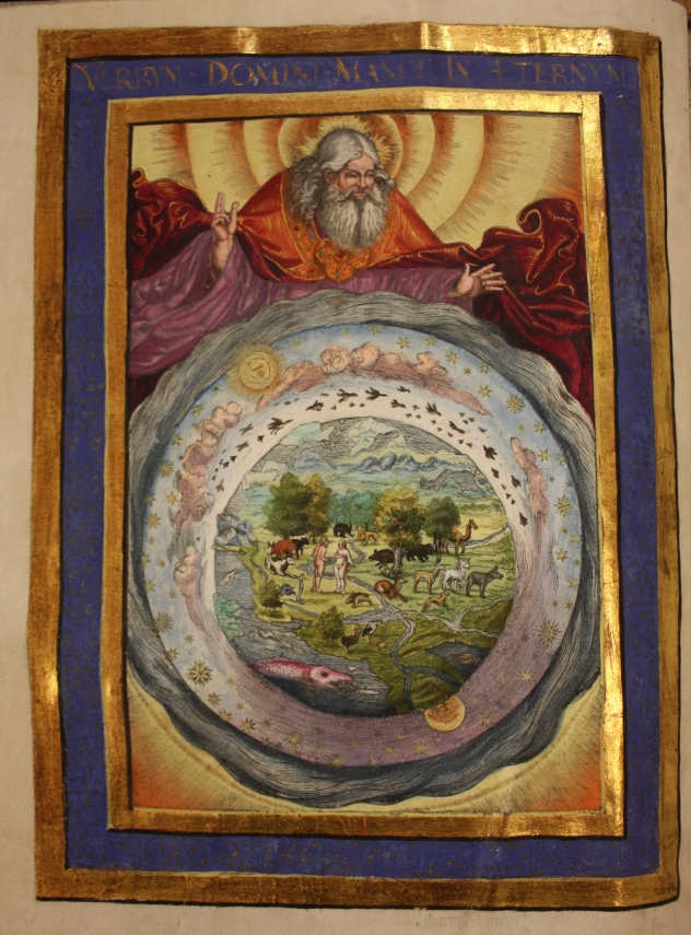 coloured print showing God in Heaven looking down on Eden, within a gilt frame
