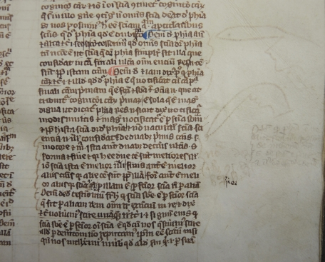 Detail of Averooes Manuscript Ms 112 showing marginalia and doodles