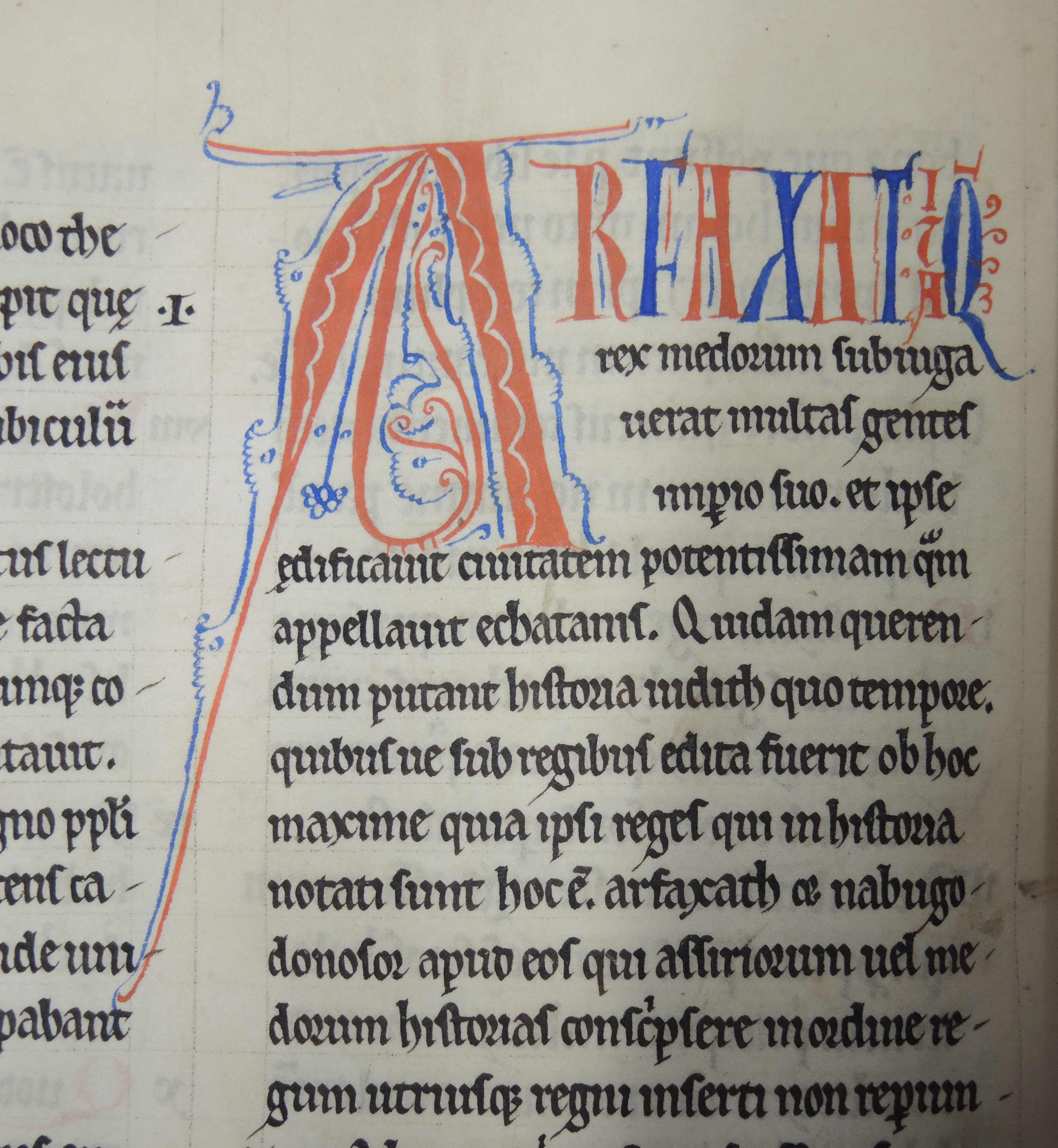 Cropped image from Ms 168 showing decorated initial A