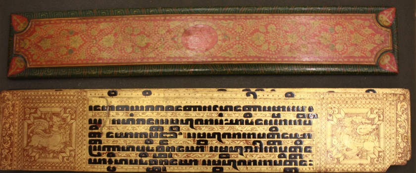 Gilded and lacquered Pali Ms 385 with wooden boards