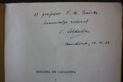 dedication by Ferran de Soldevila to F.M. Powicke on title page of Historia de Catalunya, volume 1