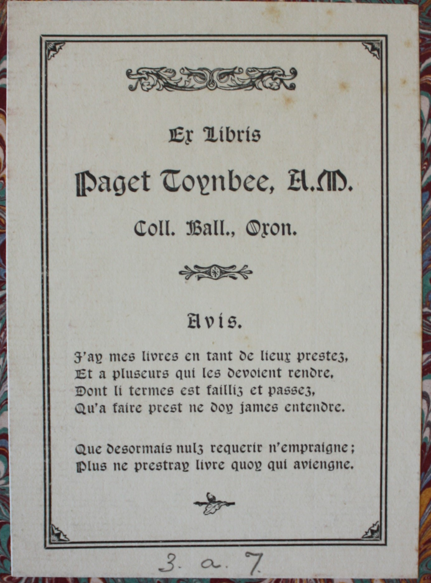 Paget Toynbee's bookplate, in Latin and French