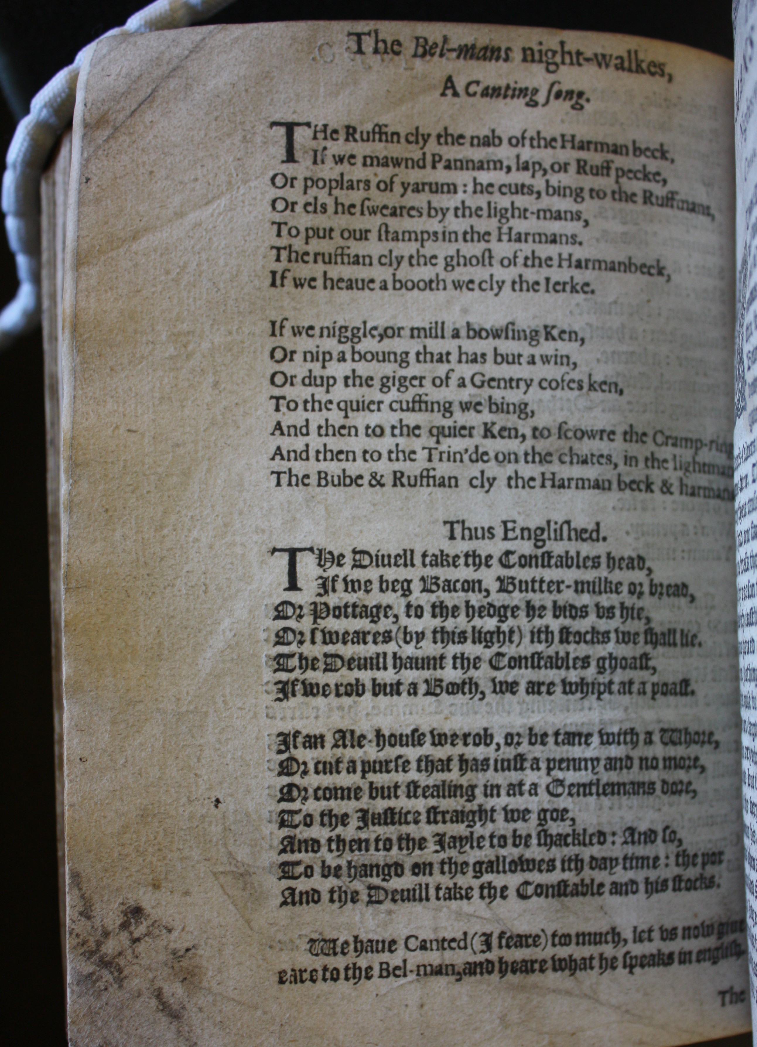 Page showing a poem in Cant and translated into English