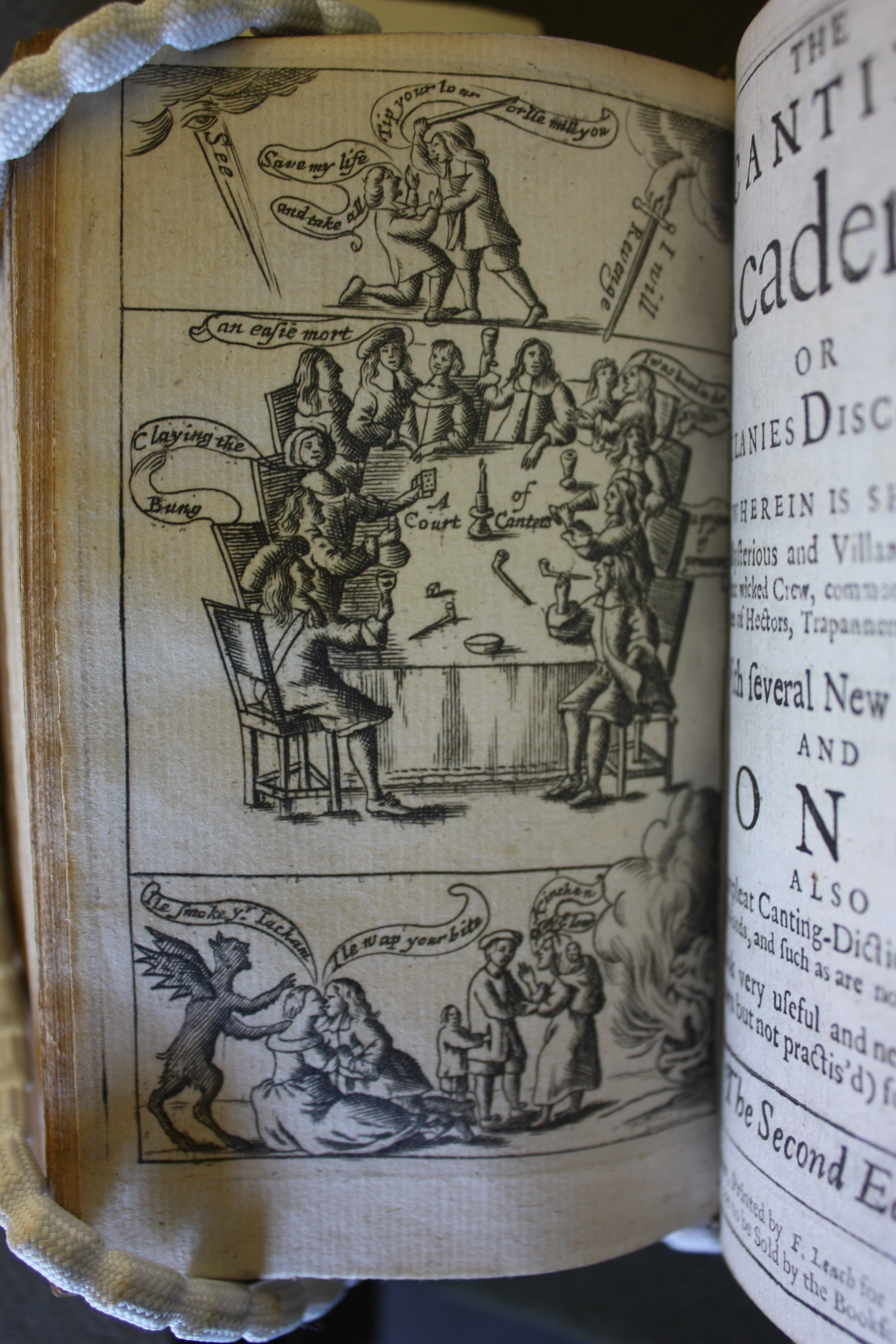 Engraved Triptych showing people speaking Cant