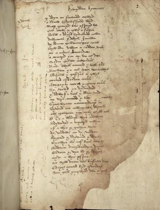 Page of Welsh poem in 16th century manuscript with marginal annotations