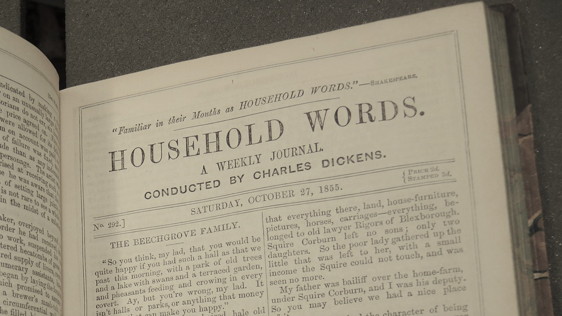 Detail from the front page of Household Words, October 27 1855