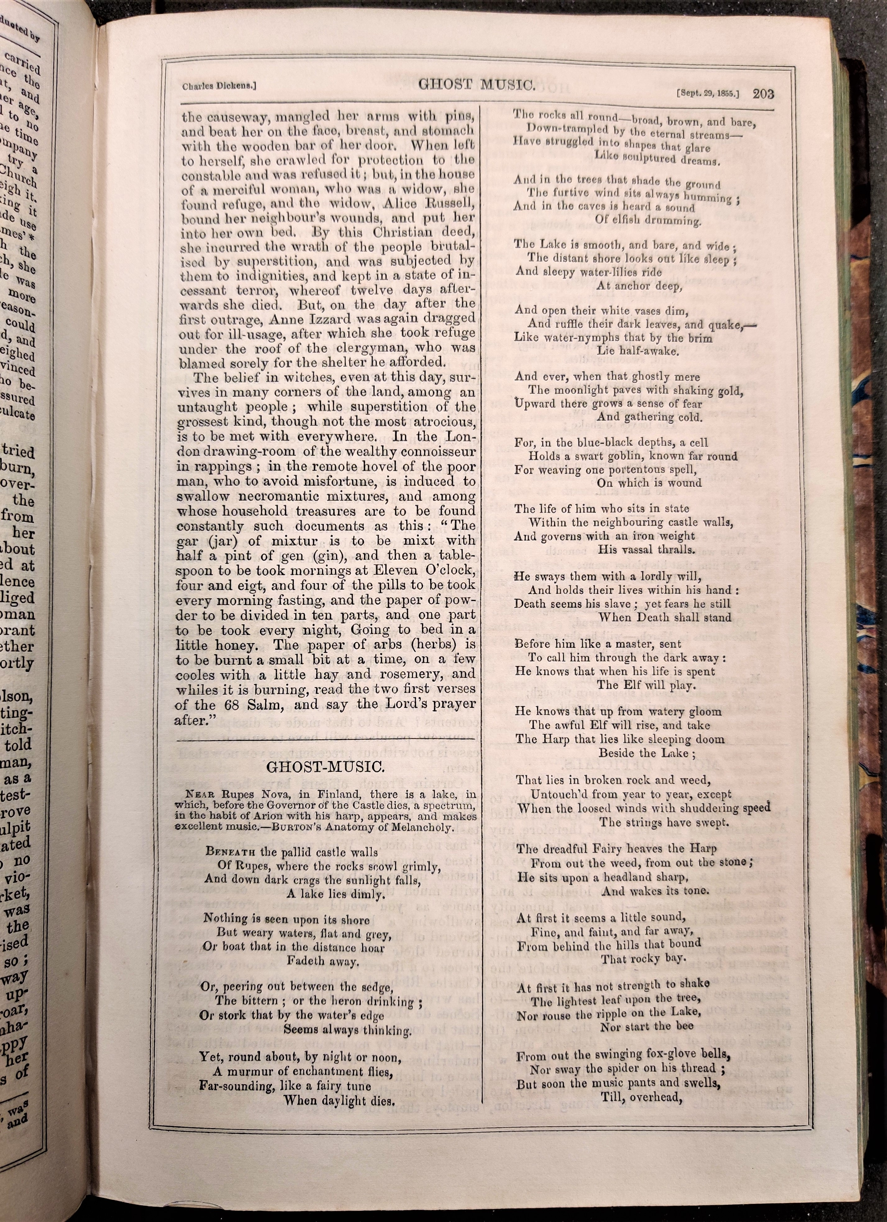 Ghost-Music, a poem by Edmund Ollier, published in Household Words, September 29 1855.