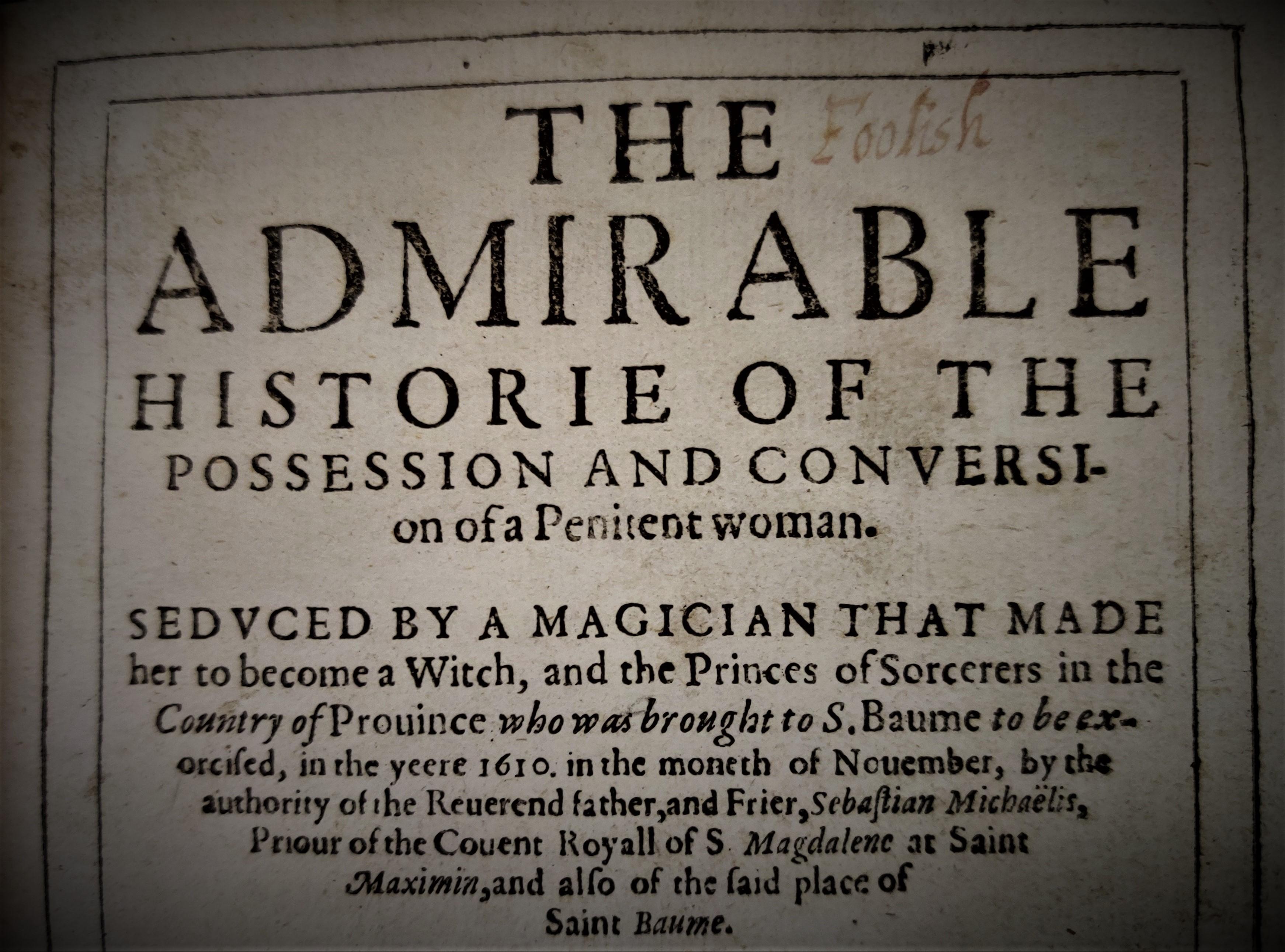 Title page from Balliol's copy of Histoire Admirable de la Possession et Conversion d'une Penitent