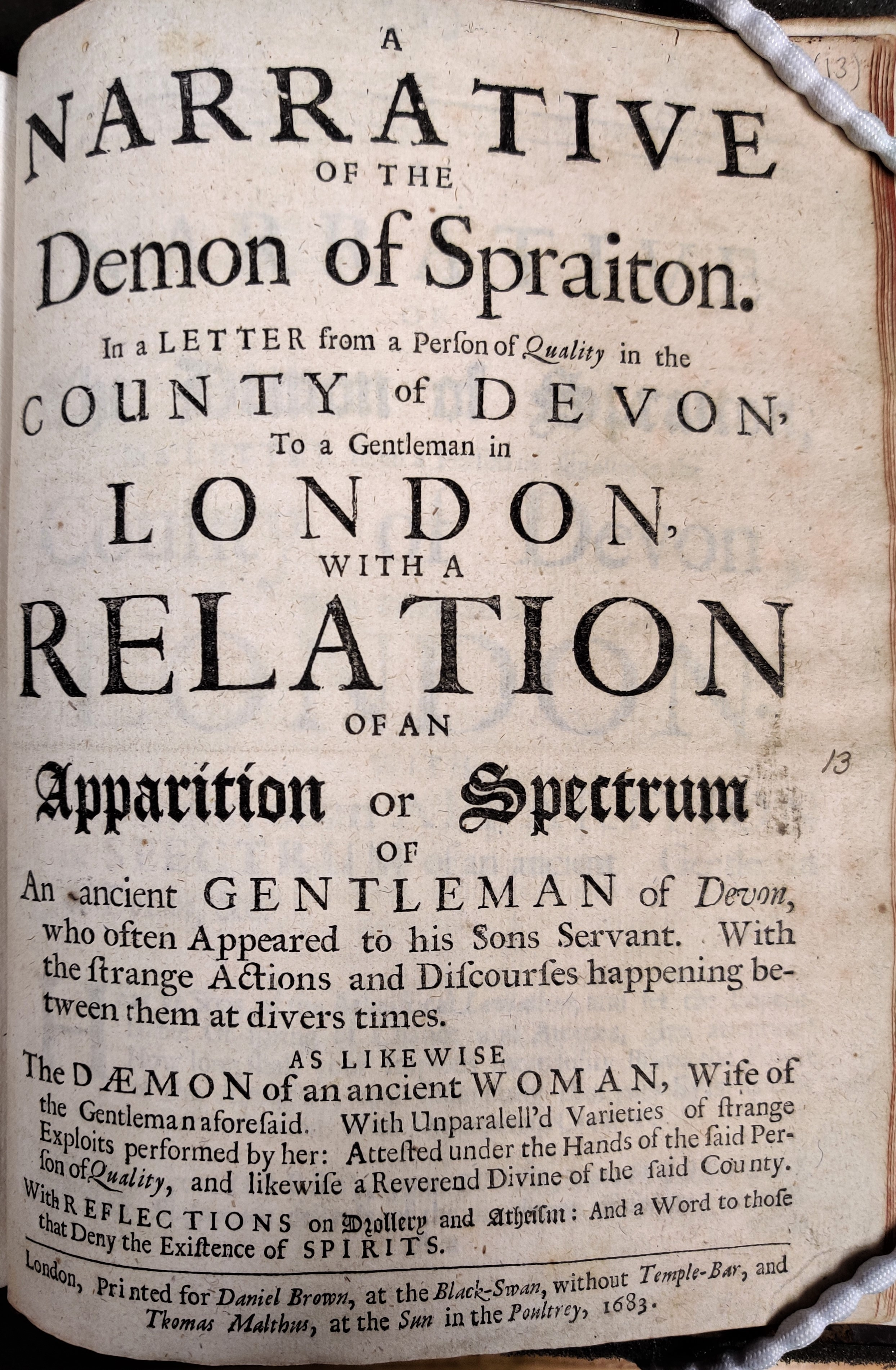 Title page of A Narrative of the Demon of Spraiton
