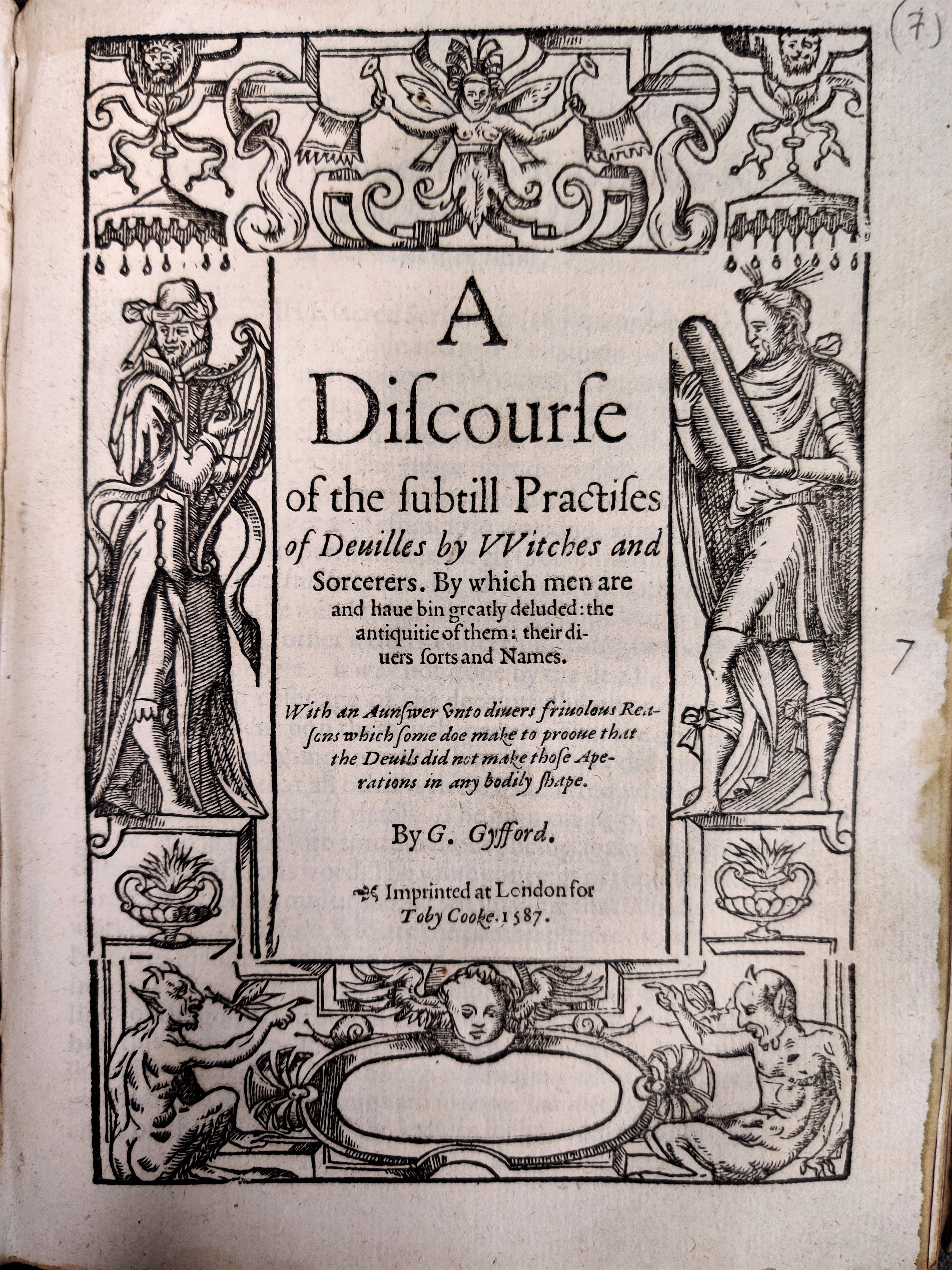 Title page of A Discourse of the Subtill Practises of Deuilles by Witches and Sorcerers