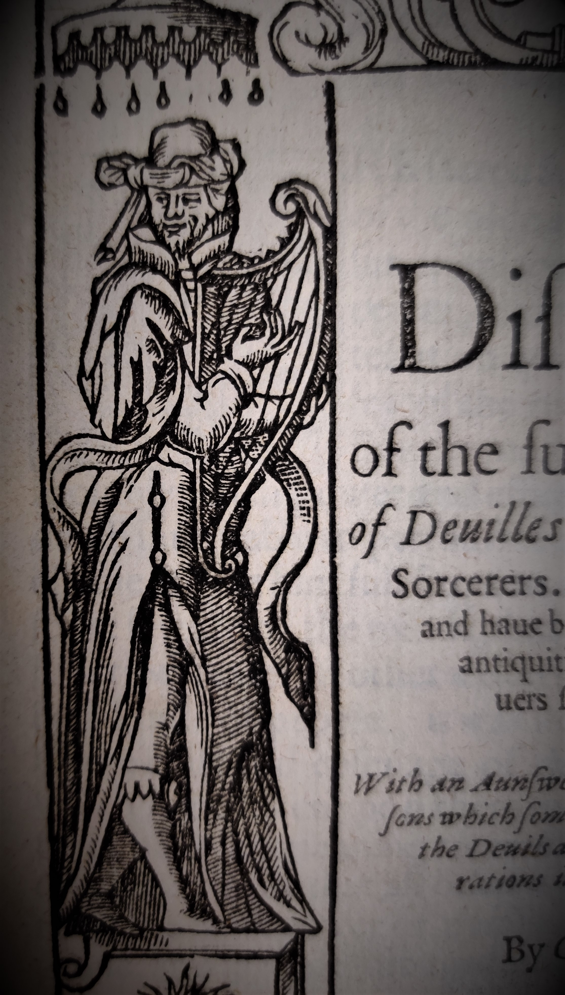 Figure from title page of A Discourse of the Subtill Practises of Deuilles by Witches and Sorcerers