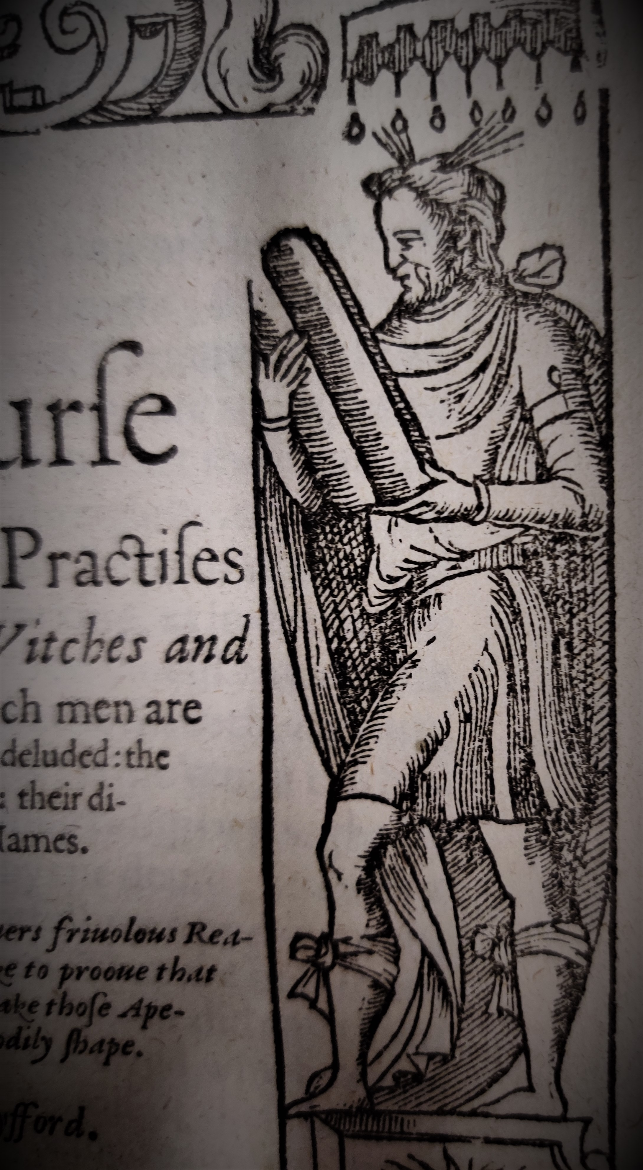 Figure from Figure from title page of A Discourse of the Subtill Practises of Deuilles by Witches and Sorcerers