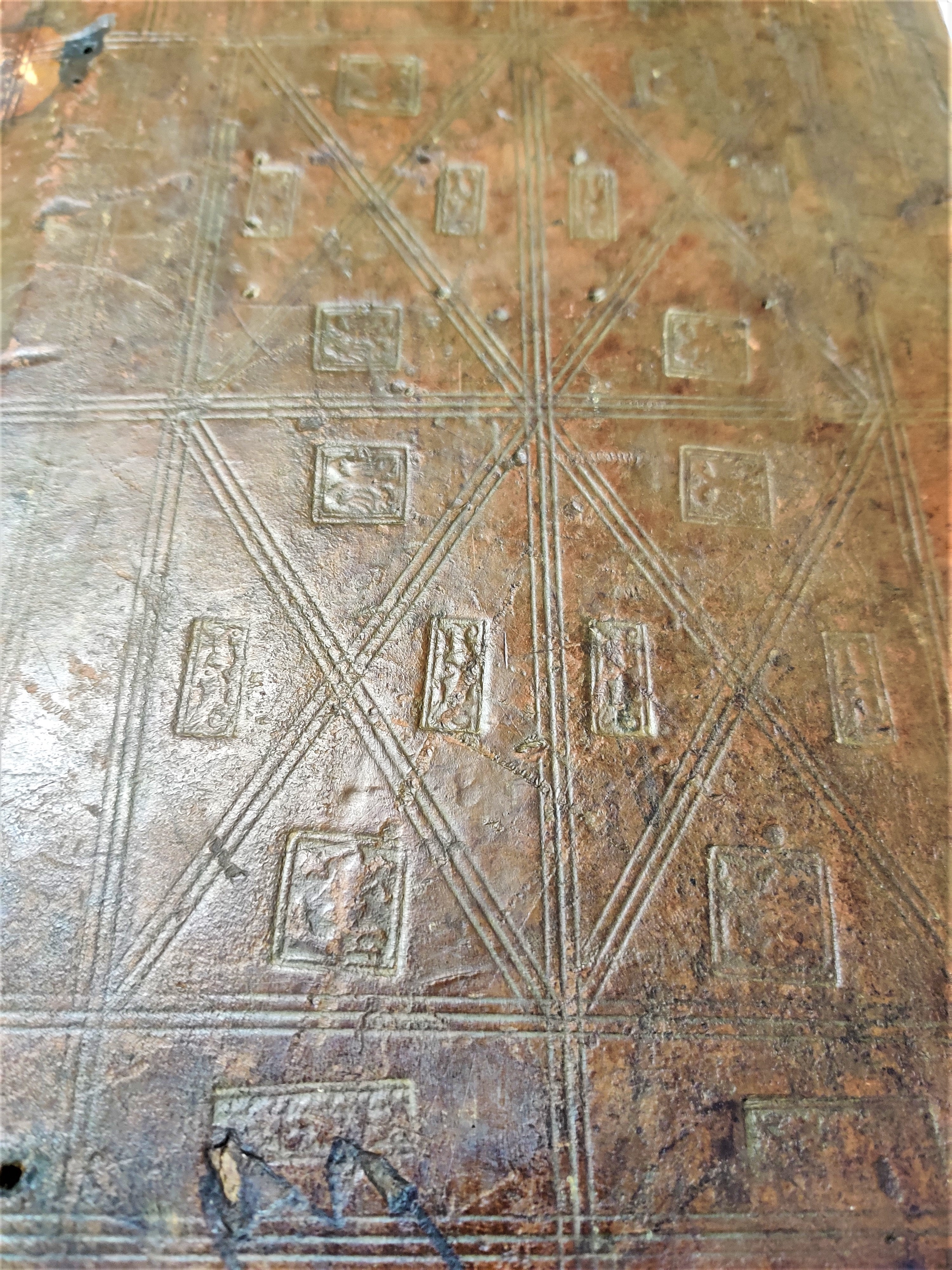 15th-century blind stamped binding on Balliol's copy of Formicarius